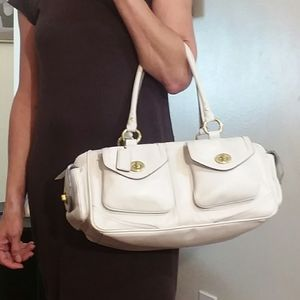 Coach Stark White Leather Satchel Bag
